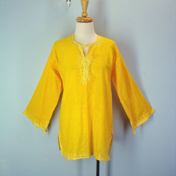 80s Embroidered Blouse Bright Gold Yellow Boho Hippie Top