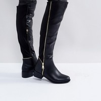 Truffle Collection Zip Detail Elastic Flat Over Knee Boot at asos.com