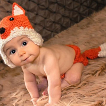 Peak-a-Boo Fox Crochet Set Costume Photography Prop