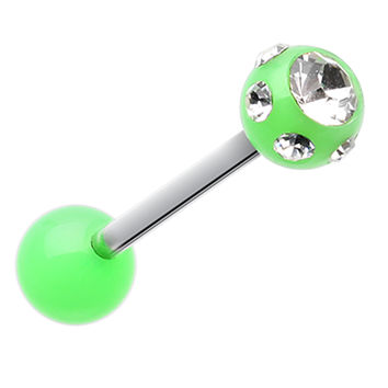 Aurora Glass-Gem Ball UV Acrylic Barbell Tongue Ring