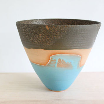 Ceramic bowl, aqua wave and brown crackle landscape pottery vase