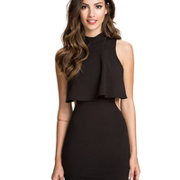 Sleeveless Top Overlay Back Cutout Bodycon Mini Dress