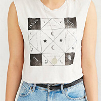 White Geo And Star Pattern Sleeveless Cropped Top