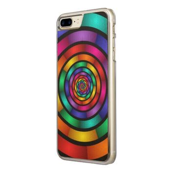 Round and Psychedelic Colorful Modern Fractal Art Carved iPhone 7 Plus Case