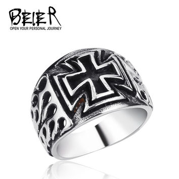 Stainless Steel Mans Fashion Jewelry Flame Cross Ring Military Man Iron Cross BR8-227 US size