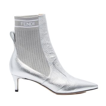 Silver Glimmer Sock Boots by Fendi