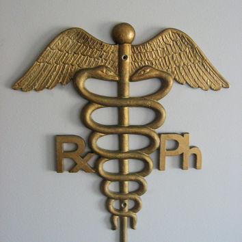 Vintage Medical Caduceus Sign - Pharmacy