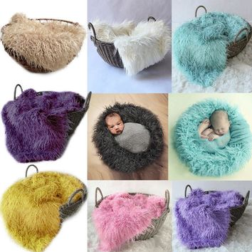 New 50*80cm Faux Fur Blanket Newborn Infant Photography Prop Baby Blankets & Swaddling For Basket Stuffer Props BM