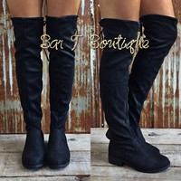 Flat Knee High Boots ~ Black