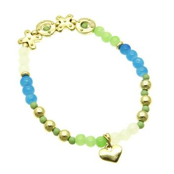 Mint Green Lucite Bead Stretch Bracelet