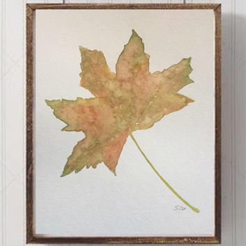Fall watercolor Painting, original leaf artwork, Autumn nature art, Plant painting, kitchen art, green and orange, 8x10