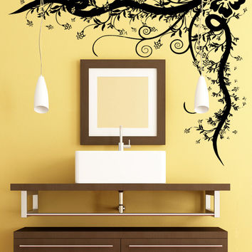 Vinyl Wall Decal Sticker Hibiscus Corner Vine #5328