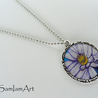 Silver Finish Purple Lotus Flower Necklace by SamIamArt