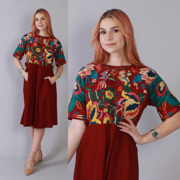 Vintage 70s DRESS / 1970s Ethnic Tribal Embroidered Festival Dress Xs - M