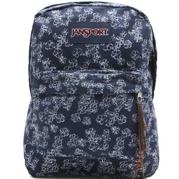 JanSport High Stakes Floral Print School Backpack - Womens Backpack - Blue - One