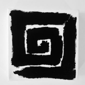 Original Black and White Abstract Painting Art OOAK Modern Art Geometric Spiral Painting - 8 x 8 inch Canvas - FREE SHiPPiNG (Canada & US)