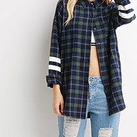 Varsity-Striped Plaid Flannel Shirt