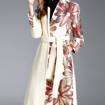 Floral Embroidered Wool Coat