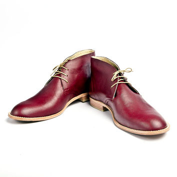vintage inpired burgundy leather desert boots FREE WORLDWIDE SHIPPING