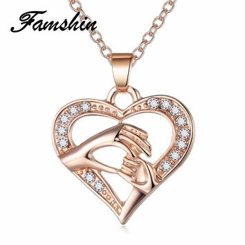 FAMSHIN Latest 3 Color Mother And Child Pendant Gift For Mom Golden Hand in hand Heart Love Pendant Necklace Mom Family Jewelry