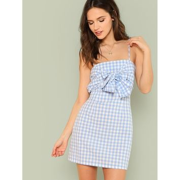 Bow Knotted Front Gingham Slip Dress