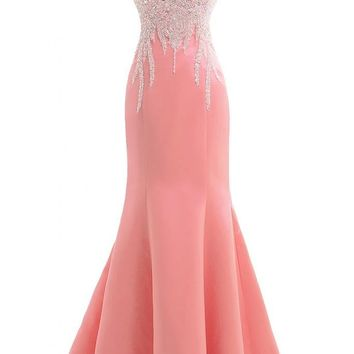 Gorgeous Bridal Satin Beaded Elegant Formal Prom Gown Evening Gown with Bowknot- US Size 2