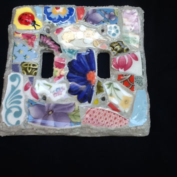 Mosaic Double Lightswitch Plate Cover Lady Bug Flowers OOAK Handmade