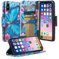 Apple iPhone XR Case, Apple A1984 Case, Wrist Strap Faux Leather Flip [Kickstand] Protective Wallet Case Cover - Blue Butterfly