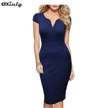 Oxiuly Women Breif Solid Puff Short Sleeve Cotton Blend Stretch Sheath Dress Elegant V-Neck Bodycon Knee-Length Dress Work Dress