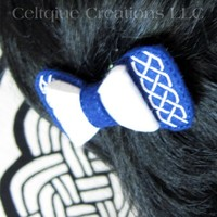 Blue and White Celtic Knot Hair Bow Handmade Barrette Saltire Colors