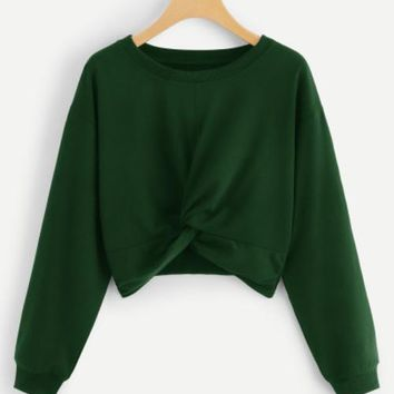 Twist Solid Crop Sweatshirt