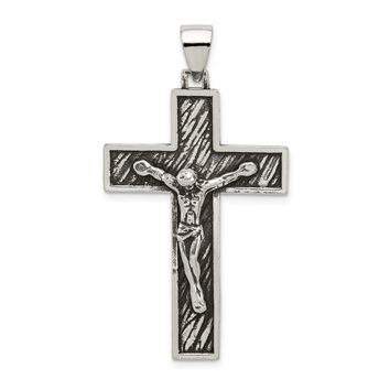 925 Sterling Silver Antiqued Large Box Cross Shaped Crucifix Pendant