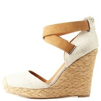 Stone Qupid Two-Piece Platform Espadrille Wedges by Charlotte Russe