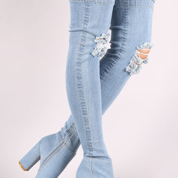 Distressed Denim Peep Toe Over-The-Knee Boots