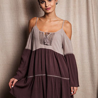 "Piko Long Sleeve ""Magic Moments"" Tunic Dress - Mocha"