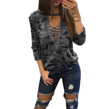 LASPERAL 2017 Long Sleeve Lace UpT-Shirt Women Camouflage Print Deep V Neck Sexy Tee Tops Femme Bandage Casual Tshirt Tops