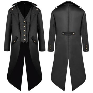 Cool Vintage Medieval Costume Men Long Coat Solid Color Punk Retro Tuxedo Male Uniform Medieval Dress Cosplay Christmas HalloweenAT_93_12