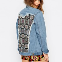 ebonie n ivory Oversized Denim Jacket With Customised Back
