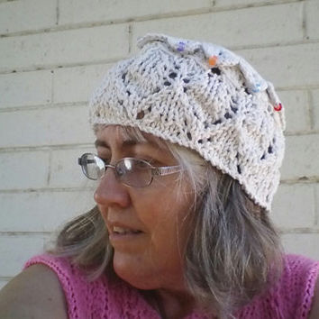 Knit Triangle-Heart Lace & Crocodile Crochet beaded cloche with broomstick lace