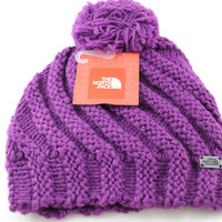 The North Face Butters Pom Women's Urchin Purple Ski Winter Snow Beanie Hat
