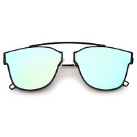 Modern Thin Flat Mirrored Lens Horned Rim Sunglasses A340