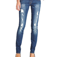 Levi's® Juniors Jeans, 524 Skinny Destroyed Dark Wash - Juniors Jeans - Macy's