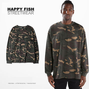 Hot 2016 Mens T-Shirt Hip Hop Military Fashion Camouflage Men Long Sleeve O-Neck Kanye West T Shirt Yeezy Season S-3XL