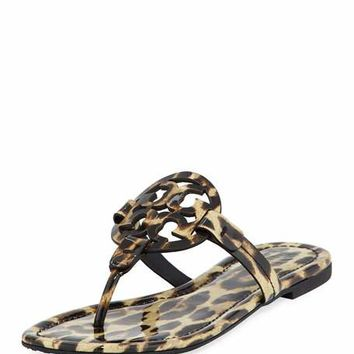 Tory Burch Miller Printed Flat Thong Sandal, Leopard