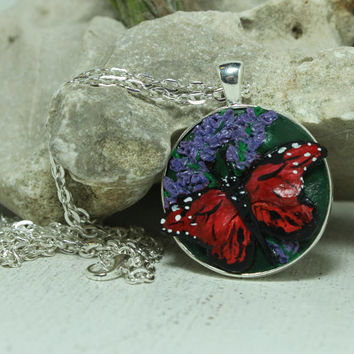 Monarch Butterfly Pendant polymer clay Insect jewelry