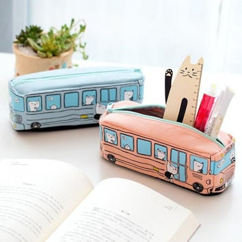 Novelty Animals School Bus Shape Canvas Pencil Case Stationery Storage Organizer Bag School Office Supply Escolar Papelaria