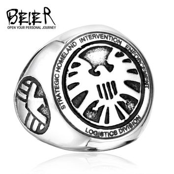 2017 Shield Strategic Homeland Intervention, Enforcement And Logistics Division Stainless Steel Cool Movie Ring BR8-174