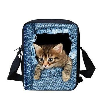 University College Backpack 3D Animal Print Cat  Student Children  School Shoulder Bags High Quality Canvas Lovely Animal Printing BagsAT_63_4