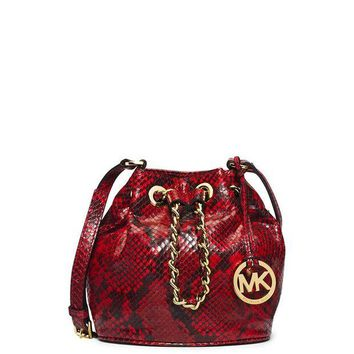 VONEA7H MICHAEL Michael Kors Leather Drawstring Bucket Crossbody Shoulder Bag (Small)