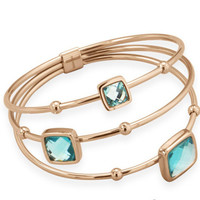 Three Row Rose Gold Plated Stainless Steel Bangle with Teal Faceted Glass